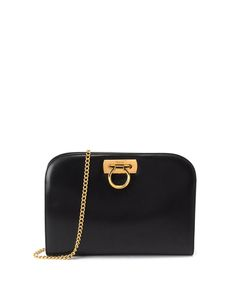 e7a7c521e0 Gancini black leather shoulder bag by Ferragamo - A sophisticated option  for evening wear