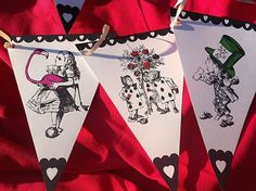 Alice in Wonderland Bunting - Mad Hatter Tea Party : FREE PDF template can be downloaded from www.partyideasuk.co.uk