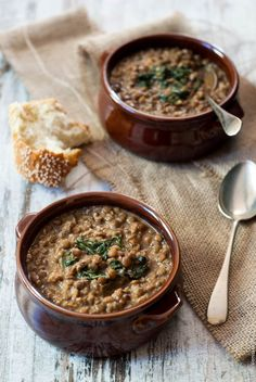 Slow cooker lentil soup with peanut butter and bulgur wheat
