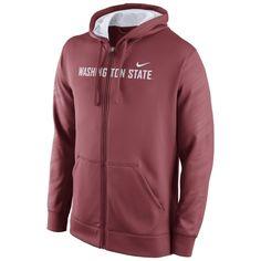 Washington State Cougars Nike Warp KO Full Zip Performance Hoodie - Crimson