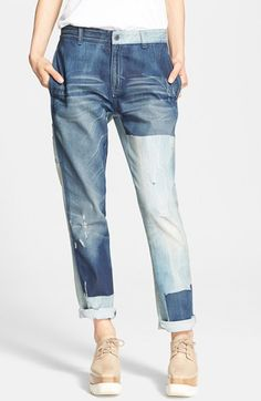 """Free shipping and returns on Stella McCartney 'The Patchwork' Boyfriend Jeans at Nordstrom.com. <p><B STYLE=""""COLOR:#990000"""">Pre-order this style from the Fall 2015 collection! Limited quantities. Ships as soon as available. You'll be charged only when your item ships.</b></P><br>Varying shades of faded denim create a retro patchwork design on slouchy boyfriend jeans detailed with distressing and abrasions for a worn-in effect."""