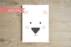 Polar bear face wall art printable - Nursery art print - Children baby furniture - Kids room decor - Instant download - Jpeg Pdf - A4 - 8*10
