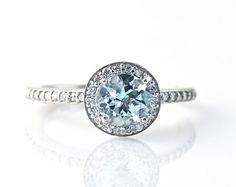 14K Aquamarine Ring Diamond Halo Setting Aquamarine by RareEarth, $887.00
