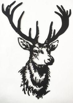 Hand drawn & laser cut, metal wall art Grand Stag
