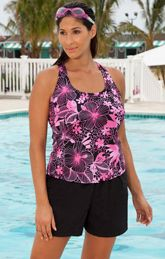 e43236e310045 Aquabelle Pink Floral Plus Size Racer Back Nylon Shortini Pink Swimsuit