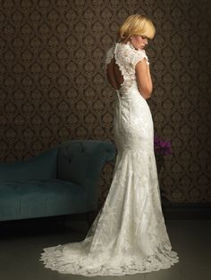 Mermaid Floor Length V-neck Dress White Charmeuse Tulle Allure 1092 With Lace Button