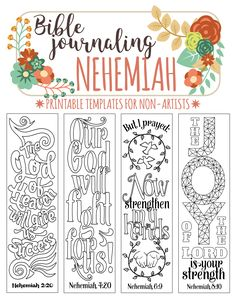 NEHEMIAH - 4 Bible journaling printable templates