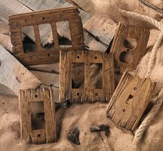 I hand-carve each Old West switch plate using tattered barn wood as a model. - I hand-carve each Old West switch plate using tattered barn wood as a model. No two are alike. Country Decor, Rustic Decor, Farmhouse Decor, Rustic Barn, Rustic Wood, Old Western Decor, Barn Wood Decor, Rustic Theme, Salvaged Wood