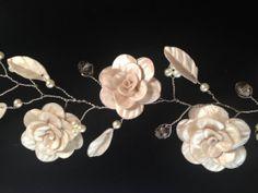 Wedding Prom Polymer Clay flower Hair Vine by RhondaTaylorDesigns, $72.00