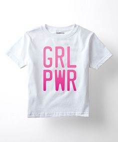 This White & Pink 'Girl Pwr' Graphic Crewneck Tee - Toddler & Girls by Sporteez is perfect! #zulilyfinds