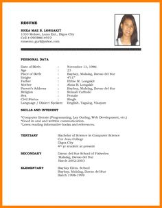 Sample Of Resume Format For Job Application #application #format ...