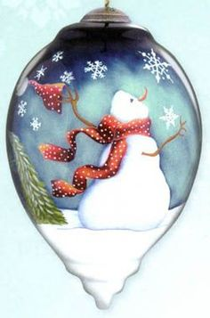 "Painted+Glass+Ornaments | Christmas Ornaments Ne'Qwa ""Winter Magic"" Hand-Painted Blown Glass ..."
