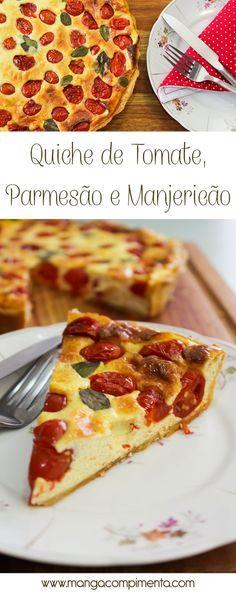Quiche de Tomate, Parmesão e Manjericão - não esqueça da salada de folhas para acompanhar! #receita #comida #quiche #torta #vegetariano