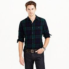 a08cba14ddd Herringbone flannel shirt in Black Watch plaid How To Wear Flannels