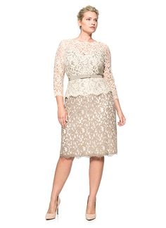 Lace Boatneck 3/4 Sleeve Dress with Grosgrain Ribbon Belt - PLUS SIZE