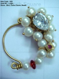Nath with pearls,color stones and beads