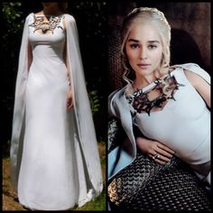 Game of Thrones Costume - Daenerys Meereen Dress - White Dragon Necklace Gown…