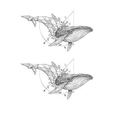 """Set of 2 Waterproof Temporary Tattoo Stickers Cool Grey Geometric Whale. High quality fashionable temporary tattoo, which looks like real. Size: 2.17"""" x 3.94"""" (each whale). Quantity: 2 in one set. Easy to apply, lasts for 2--5 days. Produced in GMP standard factory,safe to use."""