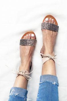 Sandales plates à paillettes