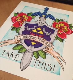 This item is a print of my legend of Zelda inspired piece. This is the shield and sword that was used by Link, along with the infamous quote and some flowers.  Original piece was done using Markers on watercolour paper and all prints are done on top quality card stock all prints are sent out via LETTER MAIL in a regular envelope which has been marked DO NOT BEND OR FOLD. Message me if you want to pay for additional cardboard photo mailer as this will increase the cost of packaging ..