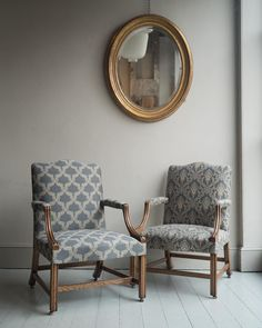 A pair of George III style oak Gainsborough arm chairs with hand-stitched horsehair upholstery. Each chair is covered in coordinating fabrics which alternate on the seats and backs. Available individually or as a pair. Furniture, Bespoke Furniture, Chair, Room Inspiration, Room Decor, Armchair, Upholstery, Furnishings, Furniture Design