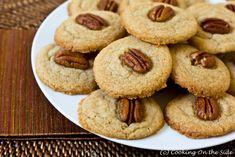 Pecan Praline Cookies (6 ingredients: butter, brown sugar, vanilla extract, flour, salt, pecan halves)