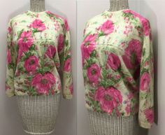 Darlene Sweater Vintage Angora & Lambs Wool by WEVco Lambs, Just The Way, Unique Vintage, Floral Tie, Pink Flowers, Pullover Sweaters, 1950s, Women's Clothing, Ready To Wear