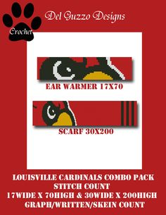 Louisville Cardinals COMBO PACK GRAPH by DelGuzzoDesignStudio on Etsy