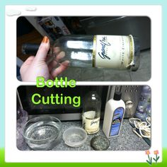 Bottle Cutting: Tie string around the bottle, remove, soak in acetone, replace onto bottle where cut is being made. Light string and rotate bottle so flame circles, once flame goes out dip into cold water, you'll hear a loud crack but that's good the glass broke!! Ta da!!! Side note make sure the string is thinner or it won't work.