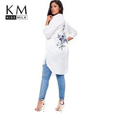 kissmilk 2018 Plus Size Solid White Women Blouses Floral Embroideried Long  Sleeve Female Clothing Casual Lady d69370420506