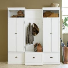 Owen Entryway Cabinet &amp Bench These come in modules, they are expensive but may give you ideas. Ballard Designs.