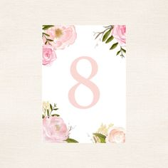 Bright Pink Water Color Floral Wedding Table Numbers 1-20 - Instant Download