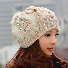 Cheap flower knit hat for women Rabbit fur ball winter hats
