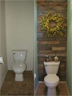 Downstairs bathroom--- Very creative way to re-use palette wood- love to do this to our east bathroom wall @liz z Green ...you could so do this to downstairs bathroom!!!... just be careful Justin doesn't burn it first