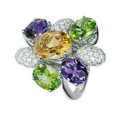 FRED LAURENA  RING Sku 4J0461 DESCRIPTION Bague Laurena in white gold, diamonds and colored stones. 99 brilliant cut diamonds: 0,75 carat GVS/GVVS. Citrine: 2,25 carats. Amethysts: 2,25 carats. Peridots : 2,50 carats.
