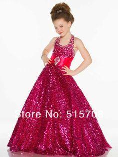 2014 A Line Gold Wedding Party Flower Girl Child Dresses Bling Bling Halter Sash Pageant Gowns Hot Sale Custom Make-in Flower Girl Dresses f...