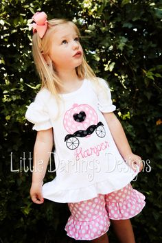 Girls Appliqued and Monogrammed Princess Carriage Shirt. $24.00, via Etsy.