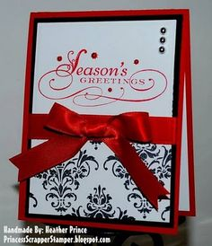 Christmas with red ribbon, flocked fancy paper and diamonds in red, black and white