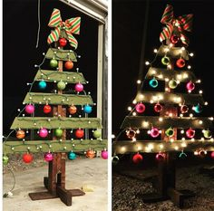 45 Charming Alternative Christmas Tree Ideas For Brighten Your Holidays The small attention to probably the most intimate food of the entire year Eieiei, the Christmas cele Pallet Christmas Tree, Christmas Wood Crafts, Noel Christmas, Christmas Projects, Holiday Crafts, Pallet Tree, Vintage Christmas, Office Christmas Decorations, Alternative Christmas Tree