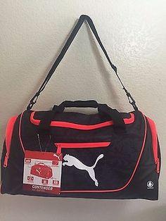 """b2a22f5126 NWT PUMA CONTENDER 21"""" Duffel Black Red Footwear Compartment Gym Bag Luggage"""