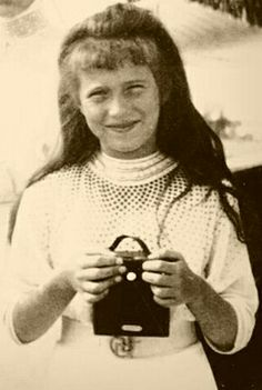Grand Duchess Anastasia Nikolaevna Romanova of Russia with her camera.