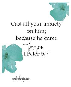 "We can give him all our anxiety. Thankful for this. I Peter 5:7 <a class=""pintag searchlink"" data-query=""%23freeprintable"" data-type=""hashtag"" href=""/search/?q=%23freeprintable&rs=hashtag"" rel=""nofollow"" title=""#freeprintable search Pinterest"">#freeprintable</a>"