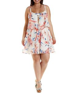 Plus Size Textured Floral Flounce Dress
