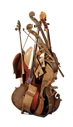 ARMAN Violoncelle , 1986 Bronze with gilded patina, wood and elements of violoncello. Sculpture signed in bottom towards the line. Arte Cello, Cello Art, Cello Music, Art Music, Instrument Craft, Musical Instruments, Sculpture Metal, A Level Art, Moon Art