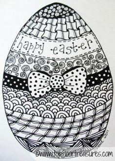 Coloring for adults-kleuren voor volwassenen Easter Coloring Pages, Colouring Pages, Adult Coloring Pages, Coloring Books, Coloring Sheets, Zentangle Drawings, Doodles Zentangles, Zentangle Patterns, Zen Doodle