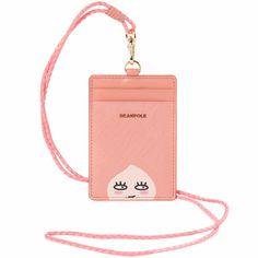 Kakao Friends Pink Leather Neck Strap Lanyard ID Card Badge Holder Wallet Case  #BEANPOLE #MiniWallet