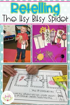 Retelling activities for Kindergarten reading lessons. This one includes lessons for The Itsy Bitsy Spider. Retelling Activities, Kids Learning Activities, Kindergarten Activities, Classroom Activities, Fun Learning, Teaching Ideas, Classroom Ideas, Comprehension Strategies, Readers Workshop