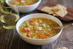 Chicken and rice soup made in a slow cooker. This easy and healthy recipe is simple to make and is filling.