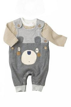 Buy Bear Jersey Dungarees Set (0-18mths) online today at Next: New Zealand