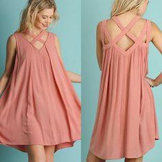 UMGEE Criss-Cross-Neckline-Sleeveless-swing Dress-S-M-L #umgee #Sundress #Casual